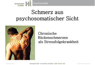 Schmerz  aus  psychosomatischer Sicht Chronische    Rückenschmerzen