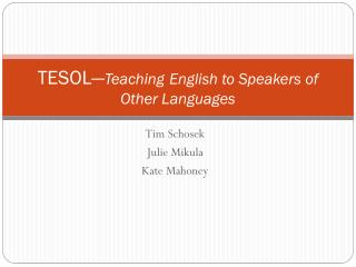 TESOL— Teaching English to Speakers of Other Languages