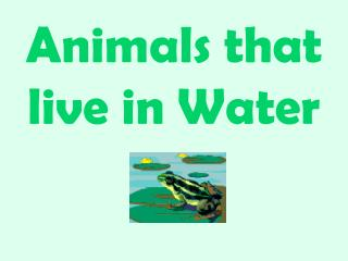 Animals that live in Water