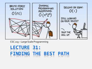 Lecture 31: Finding the Best Path