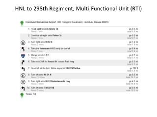 HNL to 298th Regiment, Multi-Functional Unit (RTI)