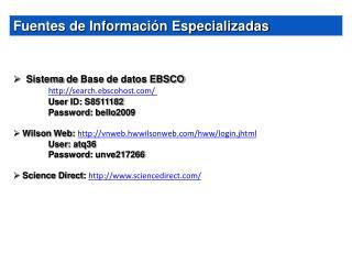 Fuentes de Información Especializadas