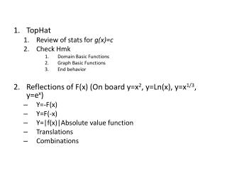 TopHat Review of stats for  g(x)=c Check  Hmk Domain Basic Functions Graph Basic Functions
