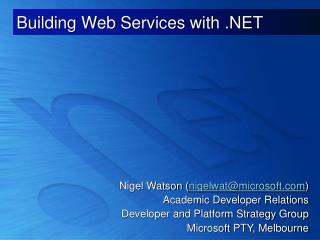 Building Web Services with .NET