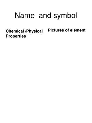 Name  and symbol