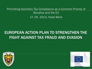 European Action plan to strengthen the fight against tax fraud and evasion