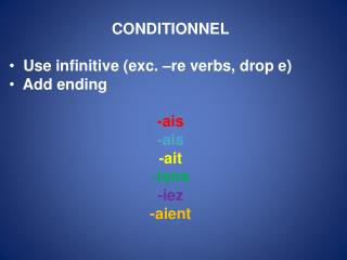 CONDITIONNEL  Use infinitive (exc. –re verbs, drop e)  Add ending - ais - ais - ait -ions - iez