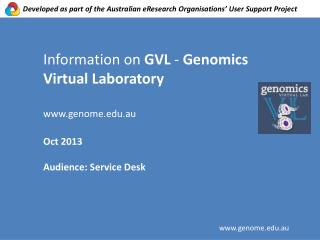 Information on  GVL  -  Genomics  Virtual  Laboratory genome.au