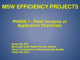 MSW Efficiency Projects
