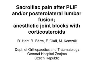 Sacroiliac pain after PLIF and
