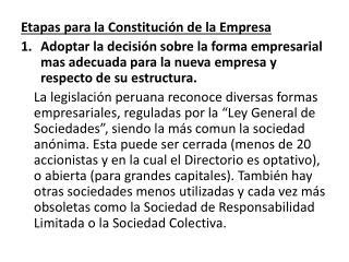 Etapas para la Constitución de la Empresa
