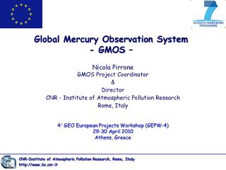 Global Mercury Observation System - GMOS  –