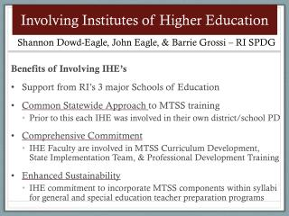 Involving Institutes of Higher Education
