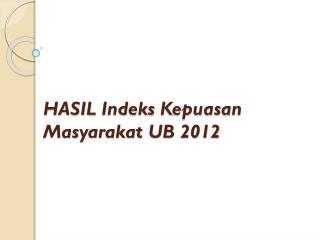 HASIL  Indeks Kepuasan Masyarakat  UB 2012