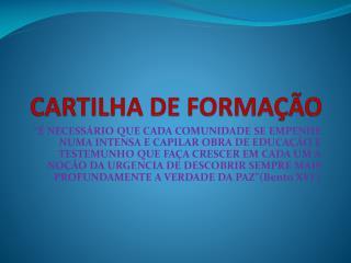 CARTILHA DE FORMAÇÃO