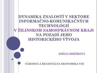 Národná  a  regionálna  ekonomika VIII