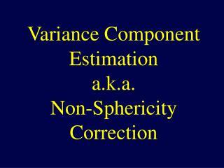 Variance Component Estimation a.k.a. Non-Sphericity Correction