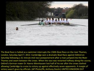 Oxford-Cambridge Boat Race halted by swimmer