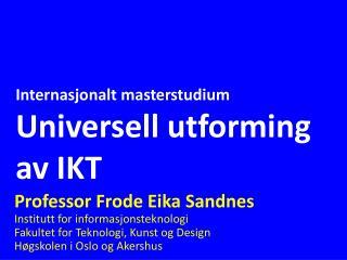 Internasjonalt masterstudium Universell utforming av IKT
