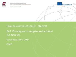 Hakuneuvonta Erasmus + - ohjelma KA2 /Strategiset kumppanuushankkeet  ( Comenius )