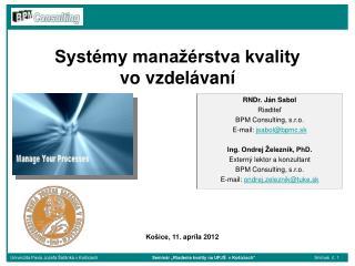 Syst�my mana��rstva kvality  vo vzdel�van�