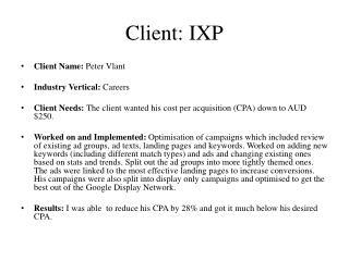 Client: IXP