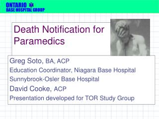 Death Notification for Paramedics