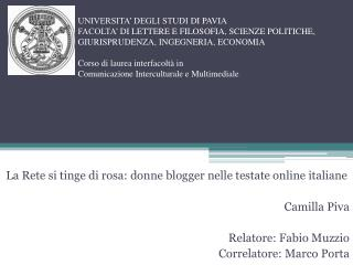 La  Rete si  tinge  di rosa :  donne  blogger  nelle  testate online  italiane Camilla  Piva