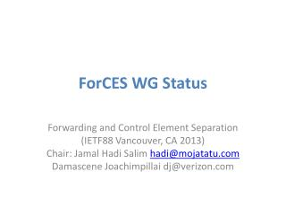 ForCES  WG Status