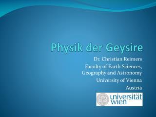 Physik der Geysire