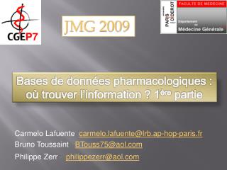 Bases de données pharmacologiques : où trouver l'information ? 1 ère  partie