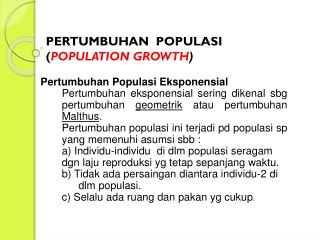 PERTUMBUHAN  POPULASI ( POPULATION GROWTH )
