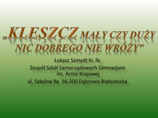 Łukasz Szmydt kl. llc Zespół  S zkół Samorządowych Gimnazjum  im. Armii Krajowej
