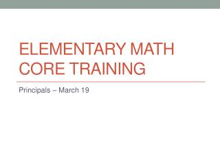 Elementary Math Core Training