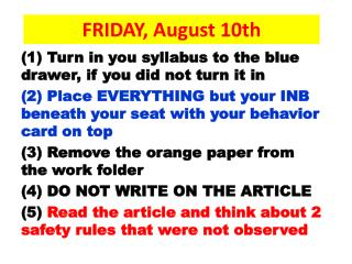 FRIDAY, August 10th