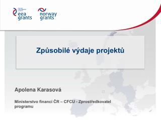 Apolena Karasová Ministerstvo financí ČR –  CFCU - Zprostředkovatel programu