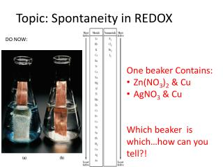 Topic: Spontaneity in REDOX