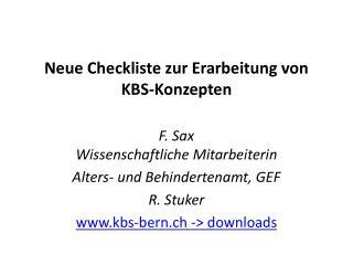 Neue  Checkliste zur Erarbeitung von KBS-Konzepten