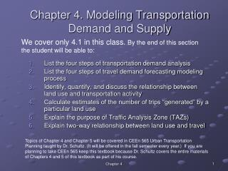 Chapter 4. Modeling Transportation Demand and Supply