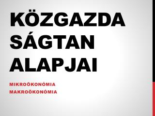 Közgazdaságtan alapjai