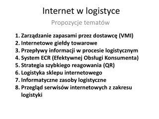 Internet w logistyce