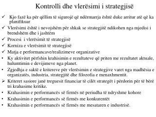 Kontrolli dhe vlerësimi i strategjisë