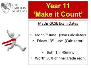 Maths GCSE Exam Dates Mon 9 th  June   (Non Calculator) Friday 13 th  June  (Calculator)