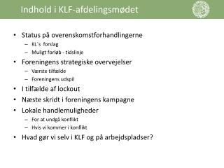 Indhold i KLF-afdelingsm�det