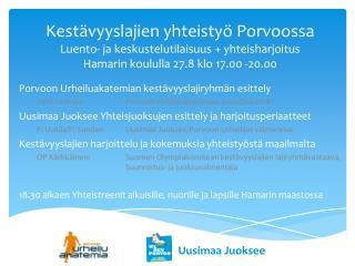 Porvoon Urheiluakatemian kestävyyslajiryhmän esittely