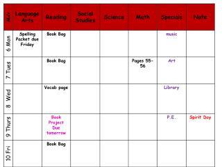 Homework Agenda 2012 2013