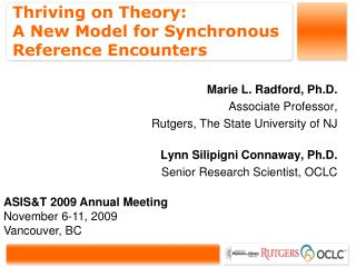 Thriving on Theory:  A New Model for Synchronous Reference Encounters