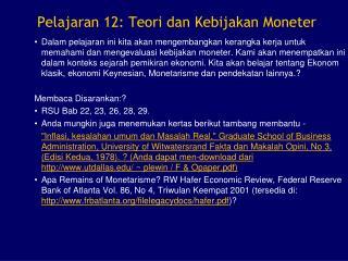 Pelajaran 12: Teori dan Kebijakan Moneter