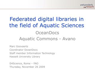 Federated digital libraries in the field of Aquatic Sciences