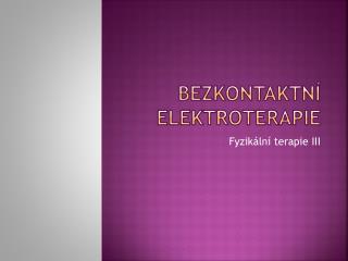 Bezkontaktní elektroterapie